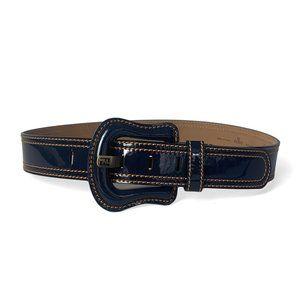 Fendi Navy Blue Patent Leather Buckle Belt sz 75cm